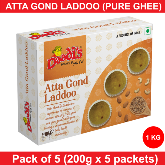 Combo Atta Gond Laddoo Pure Ghee 200g (Pack Of 5)